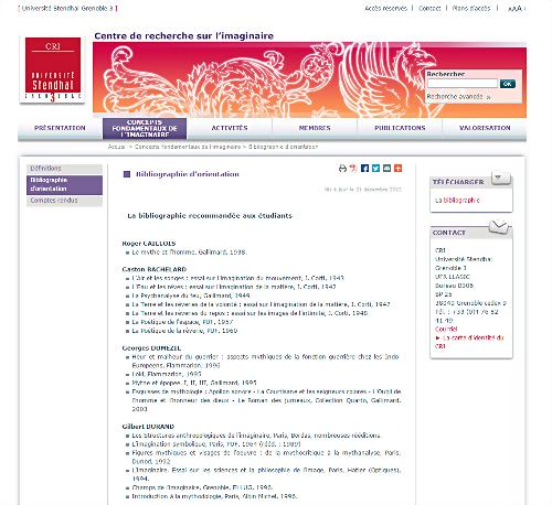 Le Centre de recherche sur l'imaginaire de Grenoble, traduction institutionnelle de l'imagination symbolique depuis 1966 (crédits : http://cri.u-grenoble3.fr/, capture d'écran par ASM)