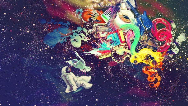 « Les milieux interstellaires et intergalactiques développent une chimie subtile, accrétions et éjections se mêlent aux courbures, parfois infinies, de l'espace-temps » (source : http://spanish.fansshare.com/)