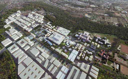 Paris-Saclay, destruction créatrice de l'université francilienne ?Perspective aérienne du futur quartier Joliot-Curie (crédits : addoc.asso.u-psud.fr/)
