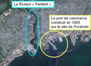 "La ""Penfeld"" et le port de commerce construit sur le site de Porstrein. (source google map)"