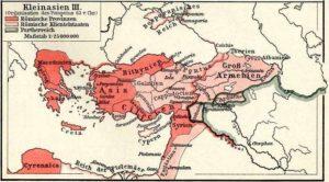 Neuordnung der römischen Territorien in Kleinasien durch Pompeius (63 v. Chr.) (Urheber: F. W. Putzgers Historischer Schul-Atlas, 1905, public domain, via Wikimedia Commons)