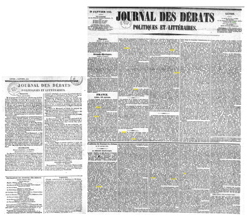 Le journal des débats de 1815 et de 1845 à résolution égale