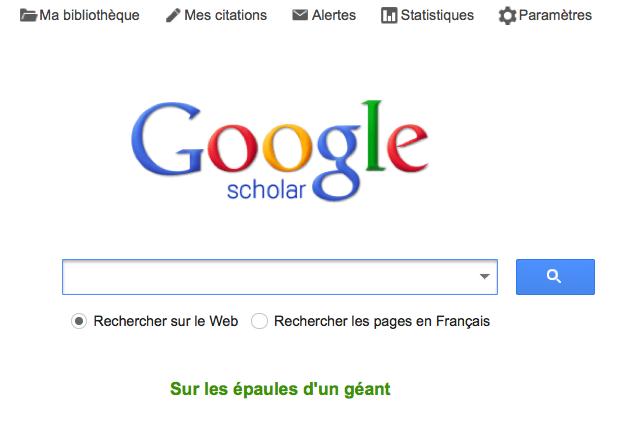 La page d'accueil de Google Scholar.