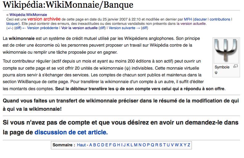 La Wikibanque peu de temps avant sa disparition (janvier 2007)