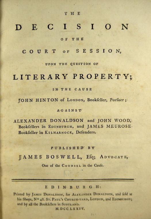 Prise en 1774, la décision Donaldson v. Beckett rejette définitivement le copyright perpétuel.