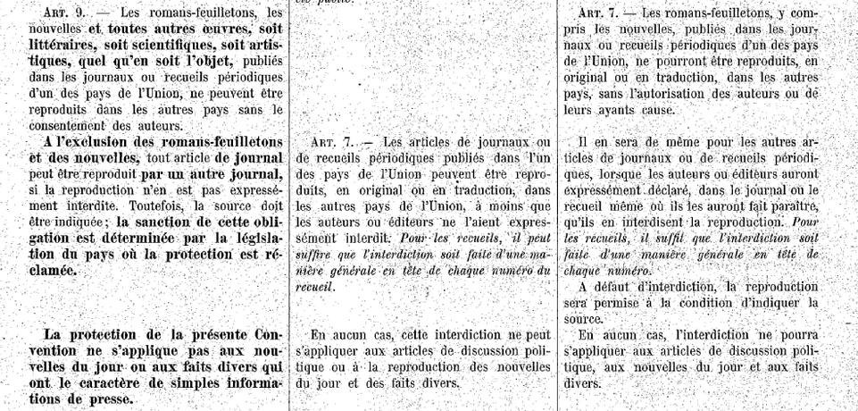 Le texte de la Convention de Berne est au centre, celui de la convention de Paris (1896) à droite et celui de la convention de Berlin (1908) à gauche.