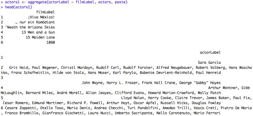 Les labels des films et la liste des acteurs en regard