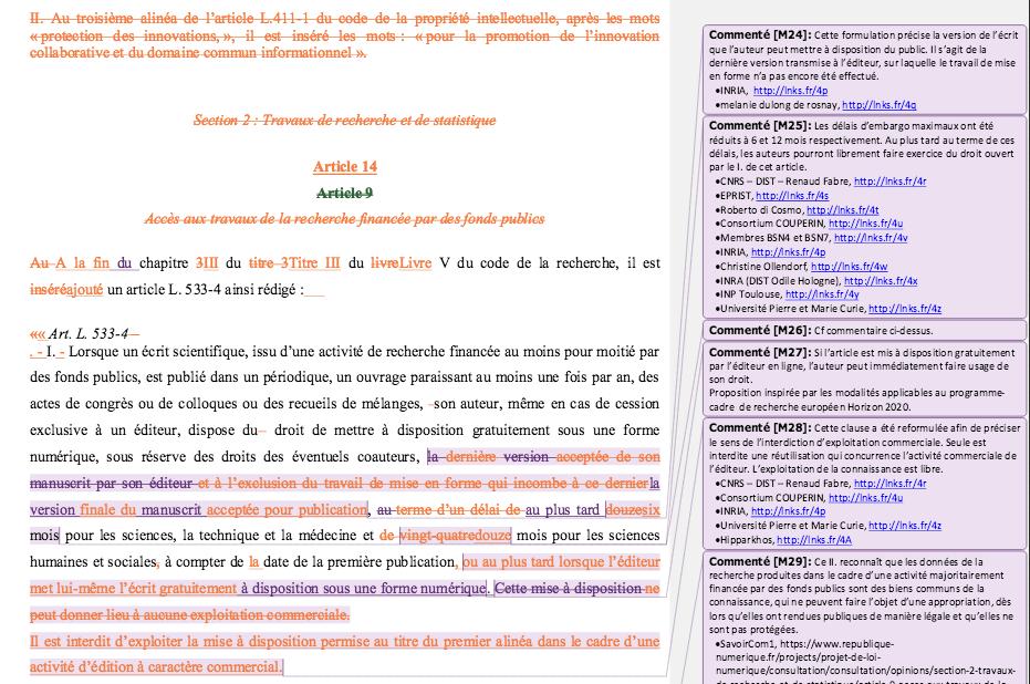 Exemple du système de rédaction collaboratif de la proposition de loi sur le numérique