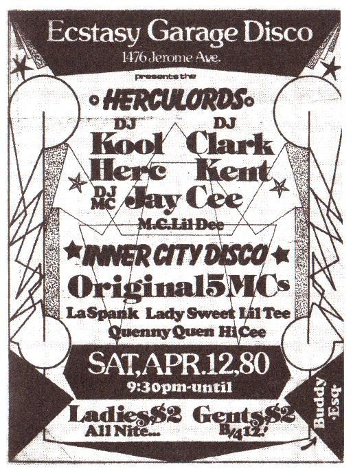 Flyer pour une soirée avec DJ Kool Herc. Image reproduite dans Bruno Blum, Le rap est né en Jamaïque, éd. Castor music p.159