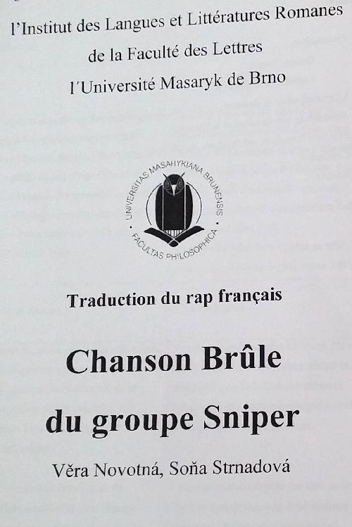 Un exercice de traduction du français vers le tchèque à partir d'une chanson de Sniper
