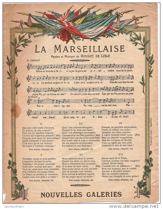 Partition et paroles de la Marseillaise, vers 1900