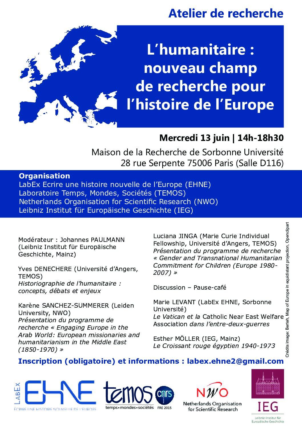 L'humanitaire : nouveau champ de recherche pour l'histoire de l'Europe