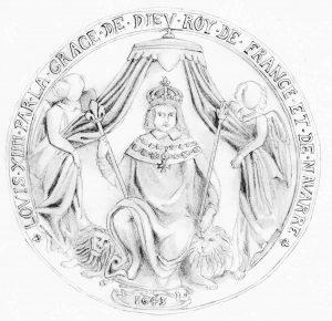 Dessin du sceau de Louis XIV, reconstitué à partir de plusieurs empreintes. Il est possible que le dais porte un écusson armorié. (Dessin : S. Armaillé).