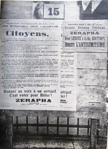 Affiches du candidat Zérapha aux élections municipales de 1935 (La Conscience des Juifs, 15 mai 1935)