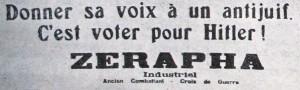 Un slogan antiraciste dans la campagne des municipales de 1935 (La Conscience des Juifs, 15 mai 1935)