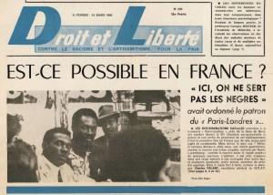 Une de Droit et Liberté, 15 février-15 mars 1966 (archives du MRAP)
