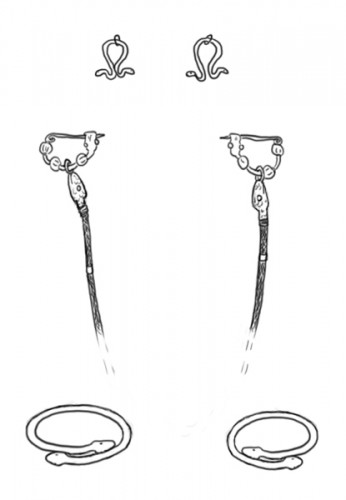 Fig.1 Exemples de parures provenant de la nécropole de Sindos conservées au Musée de Thessalonique