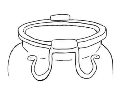 Fig. 2 Cratère à anses se terminant en têtes de serpents provenant de la nécropole de Trebenishte, Tombe 6