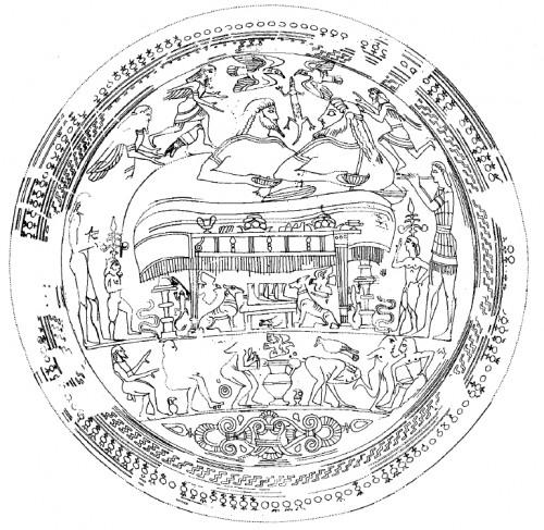 Coupe laconienne E1986 du Musée de Pratica di Mare. Peintre de Naucratis, vers 560-550 av. J.-C., trouvée dans le Sanctuaire des treize autels à Lavinium (dessin C.M. Stibbe, Lakonische Vasenmaler. Supplement, Mayence, 2004, fig. 2, p. 19)