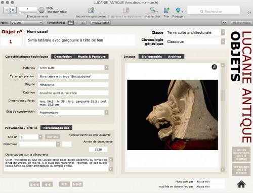 Aperçu de la table OBJETS de la base Lucanie antique (http://fm01.db.huma-num.fr/fmi/webd#LUCANIE_ANTIQUE)
