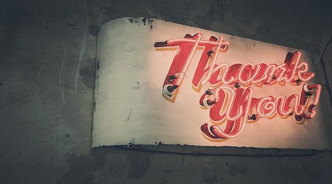Enseigne lumineuse avec la mention Thank You