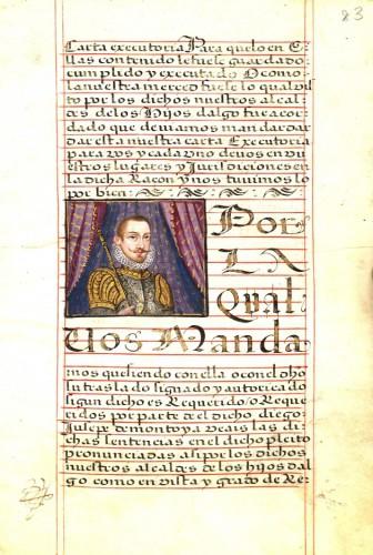 El rey Felipe III, según la ejecutoria de Diego de Montoya (1618)
