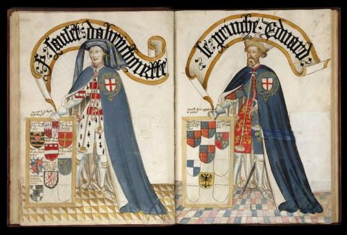 A la derecha Eduardo, el príncipe de Gales (también nombrado Eduardo Woodstock o Príncipe Negro)