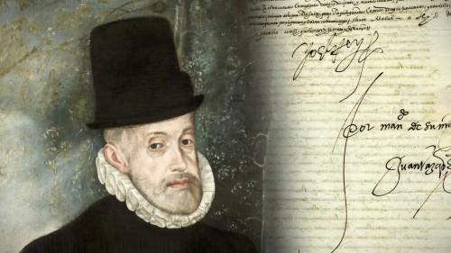 Felipe II y la firma real al pie de la cédula de 1572