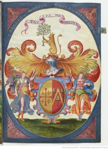 Armas -cruz de Jerusalén incluida, como caballero del santo Sepulcro- de Carlo Maggi