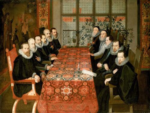 La conferencia de paz de Somerset House de 1604. Uno de los firmantes fue el V Duque de Frías (la delegación española, a la izquierda de la imagen)