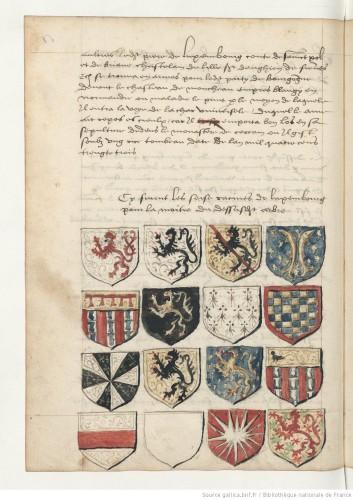 Description des trente-deux quartiers de noblesse de Pierre de Luxembourg et de sa femme Marguerite des Baux ; par Clément de « Sainguin » ou « Sainghin ». BNF