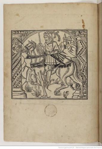 Un caballero. Grabado sobre madera, en una de las páginas de la obra (Lyon, 1510)