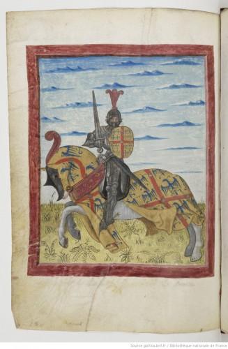 Una de las bellas imágenes ecuestres del armorial de Berry (s. XV)