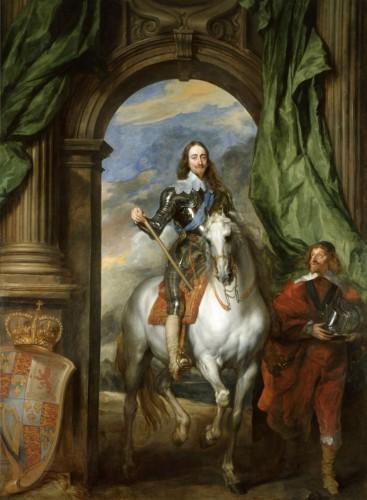 Carlos I de Inglaterra con Monsieur de Saint Antoine, por A. Van Dyck (1633)