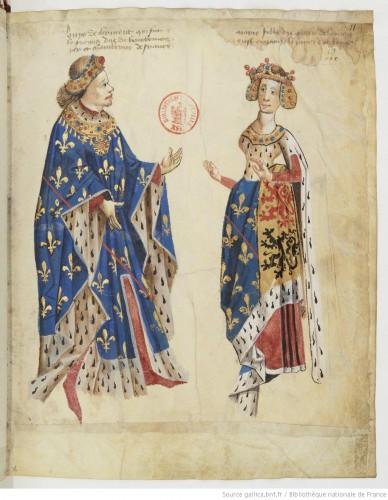 Otra página del armorial de Auvernia: Luis de Clermont y su esposa