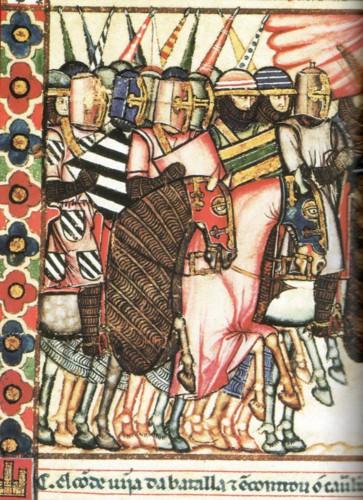 Caballeros en una ilustración del manuscrito escurialense de las Cantigas de Santa María