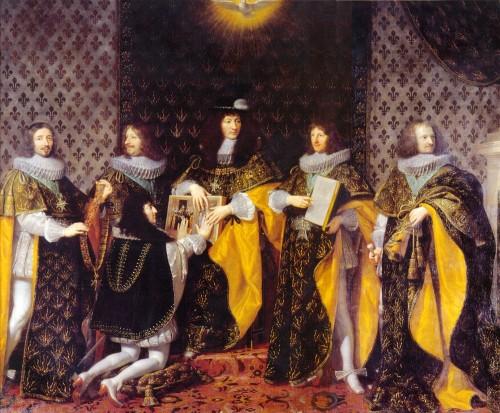 Philippe de Champaigne: Monsieur, el duque de Orléans, recibiendo las insignias de la orden del Espíritu Santo de manos de su hermano, Luis XIV