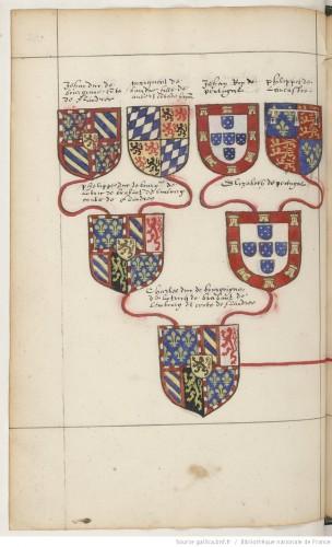 """Ascendencia borgoñona del emperador: entre otras, las armas de Felipe """"el Bueno"""" y su mujer, Isabel de Portugal (hija de Juan de Portugal y Felipa de Lancaster), padres de Carlos """"el Temerario"""""""