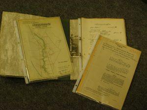 Übersichtskarte von 1950, Satzung von 1939 und Finanzierungsplan von 1950 des Wasserverbandes Münstersche Aa von Coermühle bis zur Ems (Stadtarchiv Greven, F3D-615)