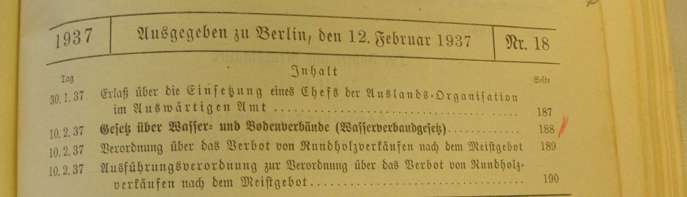 Historische Unterlagen der Wasser- und Bodenverbände, Teil 4 und Ende: Gesetzeslage seit 1913 und die Konsequenzen für die Überlieferungsbildung