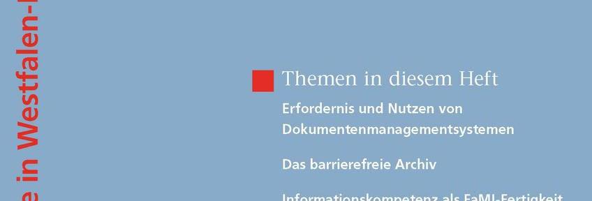 Frühjahrsheft der Archivpflege in Westfalen-Lippe