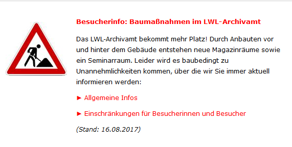 Baumaßnahmen im LWL-Archivamt