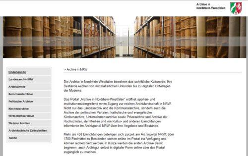Startseite des Archivportals