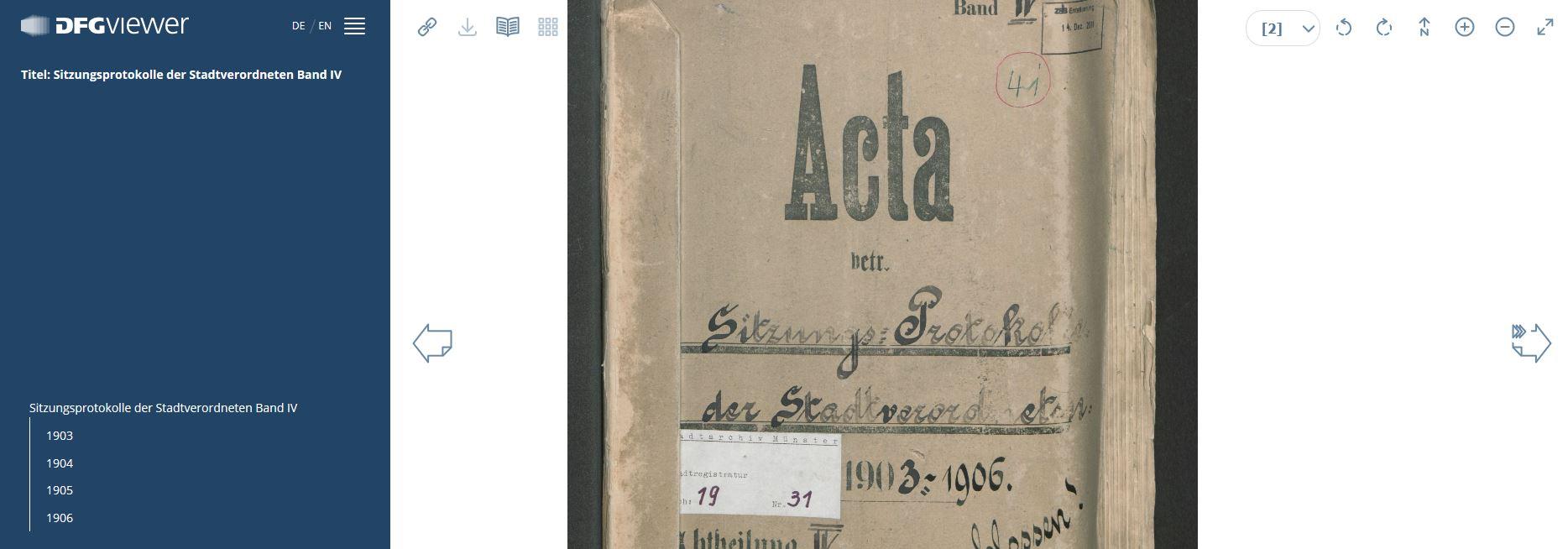 Ein Band der Münsterschen Stadtverordnetenversammlung (1903-1906), der im DFG-Projekt digitalisiert worden ist. Hier: Anzeige im DFG-Viewer des Portals Archive in NRW