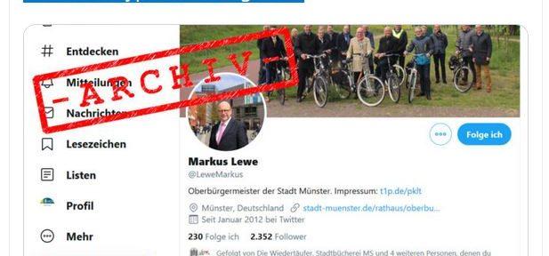 Stadtarchiv Münster archiviert die Tweets des Bürgermeisters