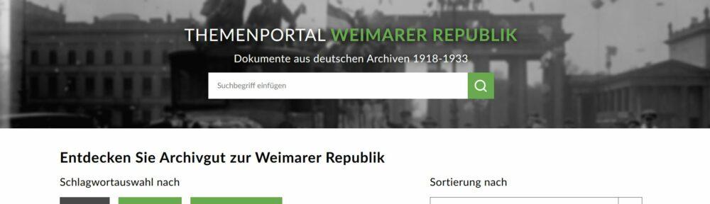 """Schlagwörter ins Archiv: Themenportal zur """"Weimarer Republik"""" im Archivportal-D jetzt online"""