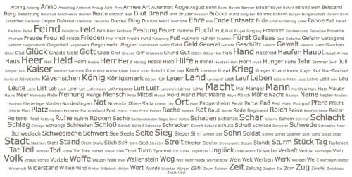 Wortwolke zum Volltext von Greflingers Der Deutschen Dreyßig-Jähriger Krieg (1657) – erstellt vom DTA, abgerufen am 30.05.2015 unter dieser URL http://www.deutschestextarchiv.de/book/stat/lemmata/greflinger_krieg_1657?nn_only=1