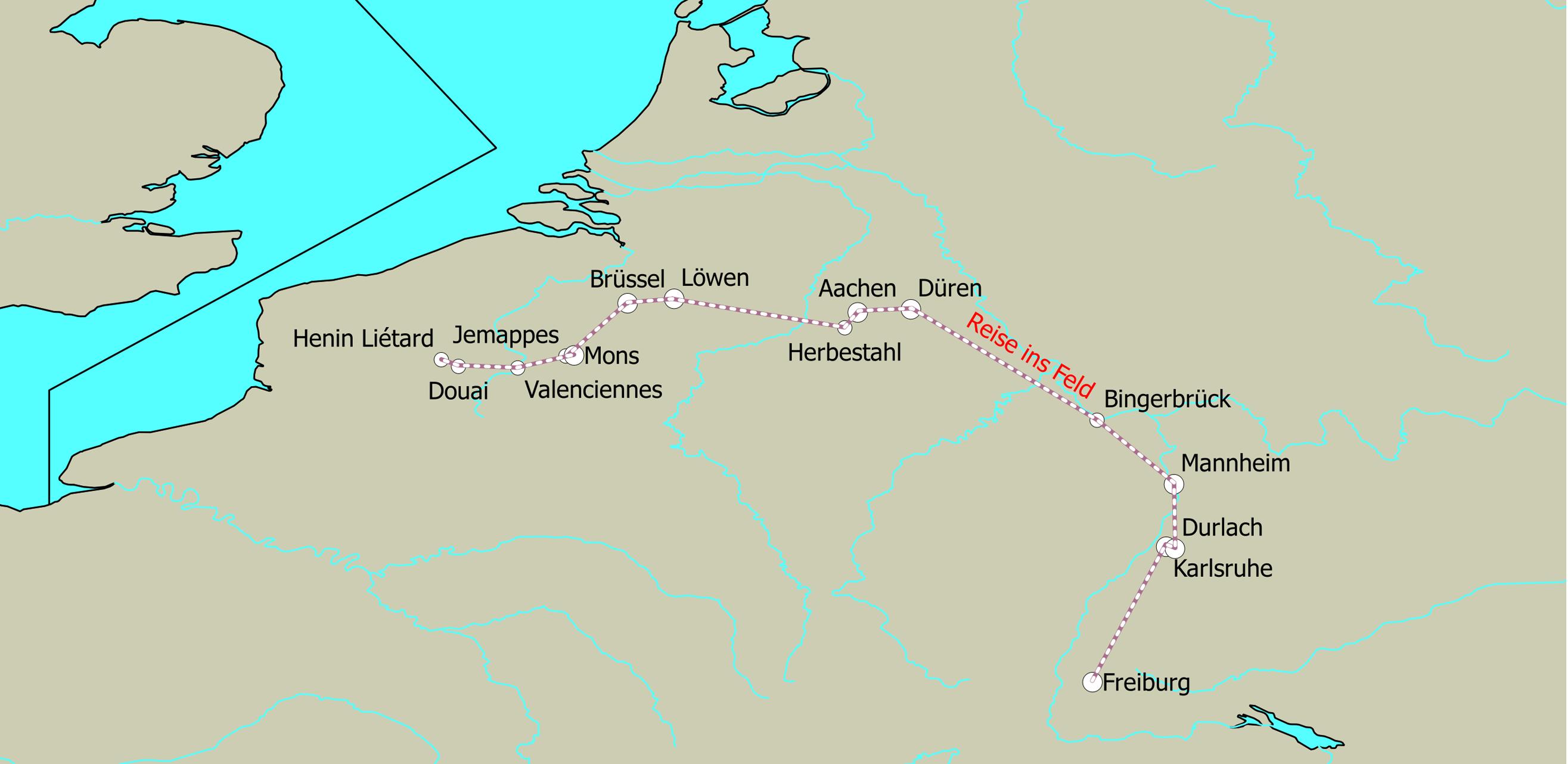 Fahrt ins Feld. Markiert sind die einzelnen Stationen der fahrt und der ungefähre Verlauf der Route (entspricht nicht den tatsächlichen historischen Bahnlinien).