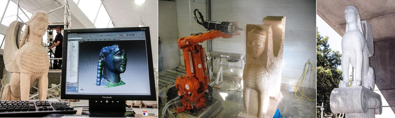 Prototypage du Sphinx des naxiens du sanctuaire de Delphes taillé en marbre de Carrare à l'aide d'un robot tailleur de pierre, (modèle 3D Archéovision & Archéotransfert / 2005)