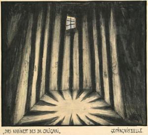 """Abb. 11: """"Das Kabinett des Dr. Caligari"""": """"Gefängniszelle"""" von Hermann Warm; IMG_0250 Inv.Nr. 198033_F251_016 Deutsche Kinemathek Berlin"""
